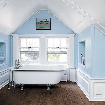Photo: Mark Lund | thisoldhouse.com | from Read This Before You Finish Your Attic | claw foot tub + wall and ceiling panels = charming!