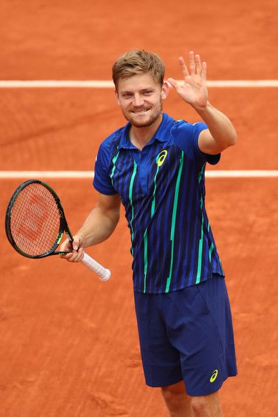 David Goffin Photos - David Goffin of Belgium celebrates victory during the Men's Singles fourth round match against Ernests Gulbis of Latvia on day eleven of the 2016 French Open at Roland Garros on June 1, 2016 in Paris, France. - 2016 French Open - Day Eleven