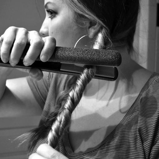 Twist side braids and run a flat iron over them to create loose waves. #flatirons