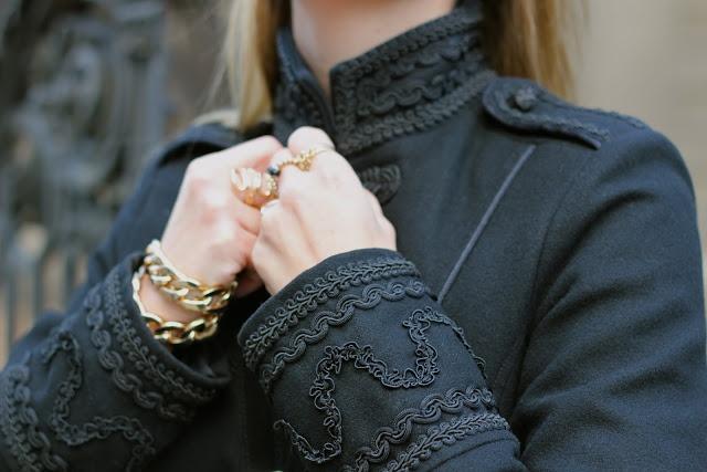 Zara officer's coat, forever21 bracelet.