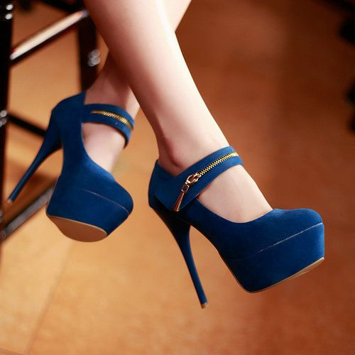 Sexy Blue Pump Wedge High Heels Shoes With Buckle Platform shoes