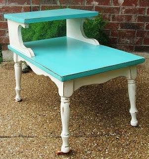 DIY Friday - Turquoise & Antiqued White End Table   Facelift Furniture