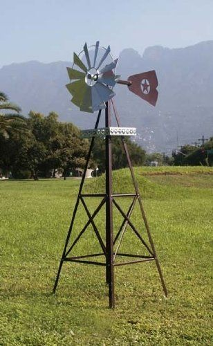 Rustic Garden Windmill by Online Discount Mart. $129.95. Rural flavorGalvanized steel6 ft. Tall. Miss your childhood down on the farm? Wish you could bring a little rural flavour to your citified home? Then a rustic garden windmill will fill that bill, and very nicely, too!  Make it a focal point for the veggie garden, or an outstanding accent beside the fish pond. It takes outdoor decor to a whole new height with the long, lean look of the real thing. Fully fun...