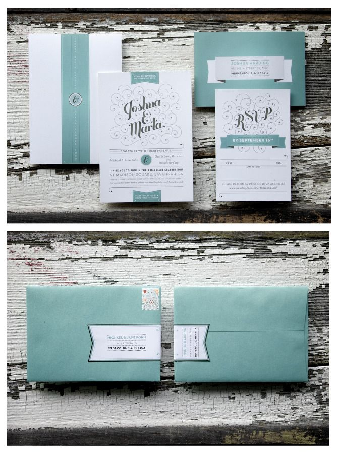 Clean yet intricate design details look great here. I also like the custom sticker closure on the envelope.