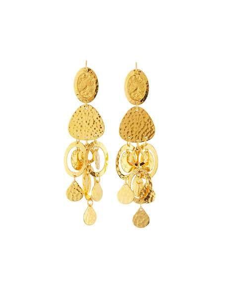 Jose & Maria Barrera Golden Crystal & Jasper Chandelier Earrings