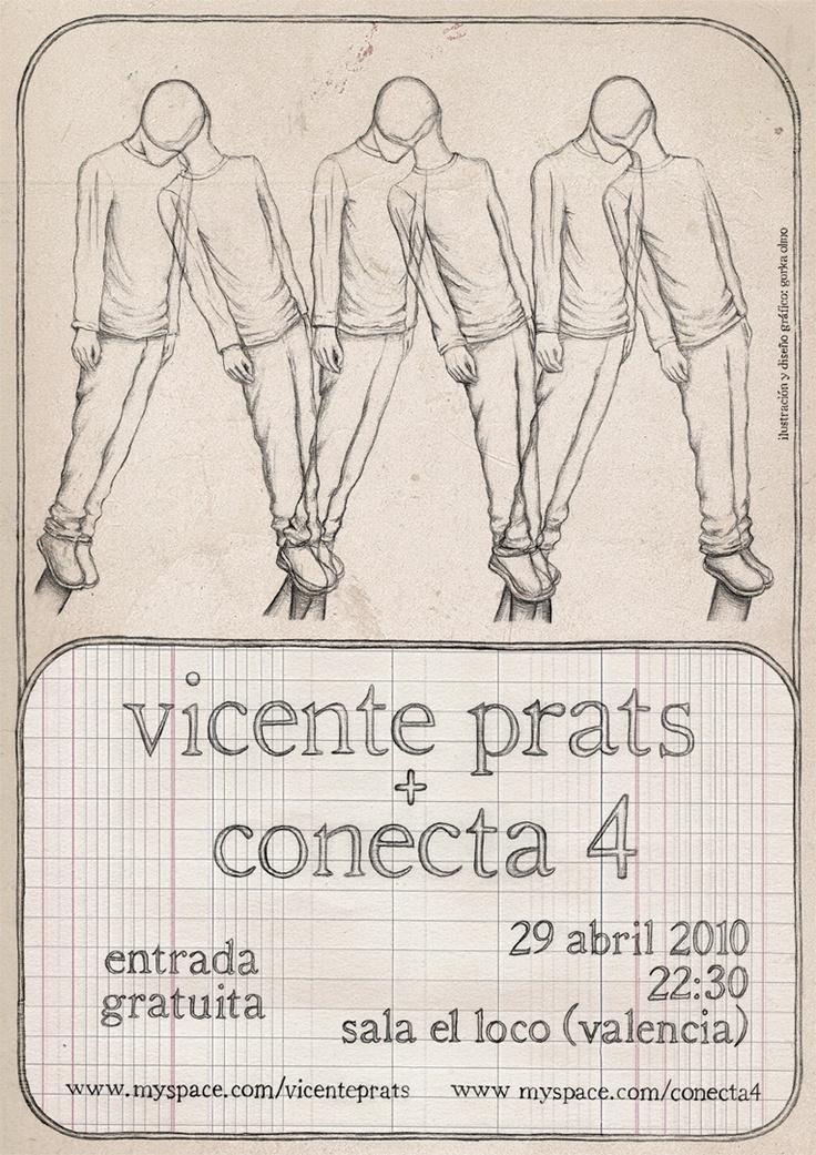 cartel concierto para Vicente Prats + Conecta 4 (gorka olmo, 2010)