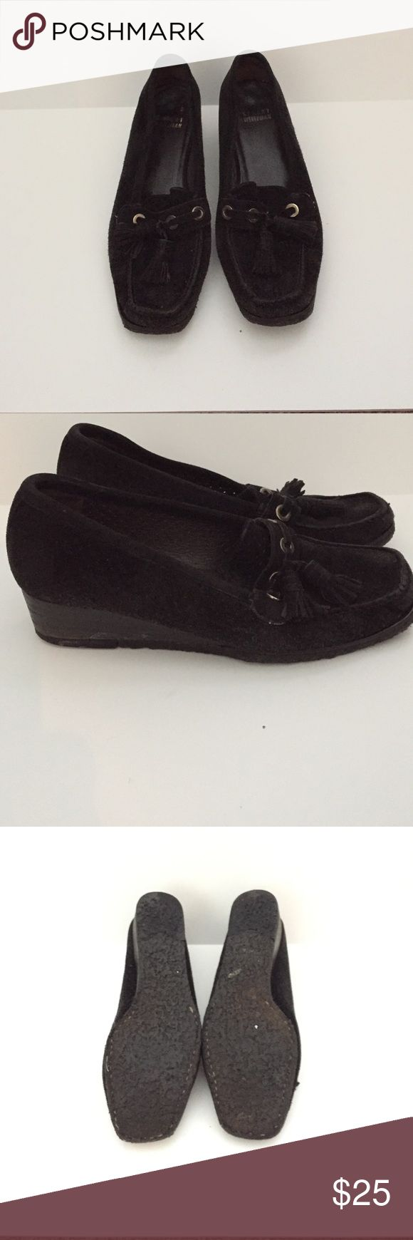 """Stuart Weitzman black suede wedge loafer Sz 7. Consignment item. Slight wear in the soles. Black suede wedge loafer with a 1.5"""" heel. Great shoes for the boot cut or skinny jeans.  Please no trades or offers. Stuart Weitzman Shoes Flats & Loafers"""