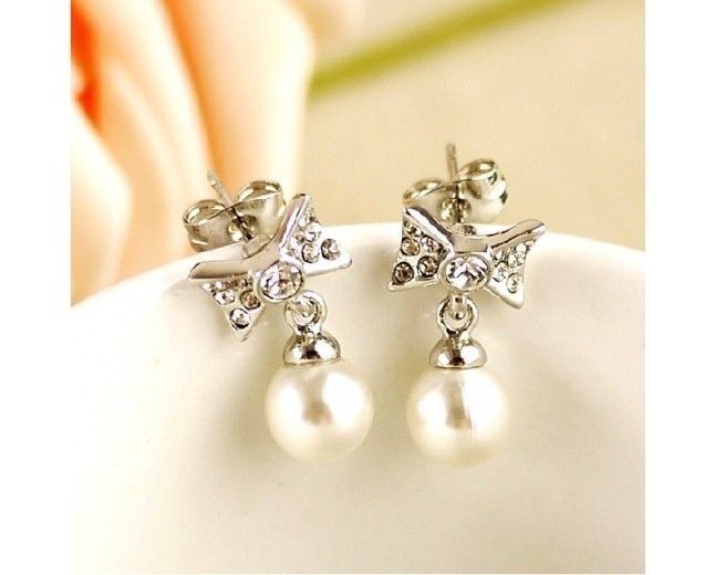 New Korean Style Lovely Crystal Bowknot Women 39 S Pearl Earrings Usd Earrings