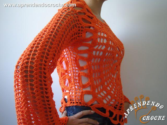 Blusa de Crochê Ana Maria Braga - Receita de Croche com o Passo a Passo no Link http://www.aprendendocroche.com/receitas-de-croche/video-aula.asp?resid=1356&tree=16