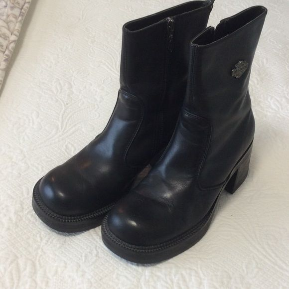 Harley boots Harley boots with side zipper. Stacked platform and heel. Great condition, barely ever worn. Harley-Davidson Shoes Combat & Moto Boots
