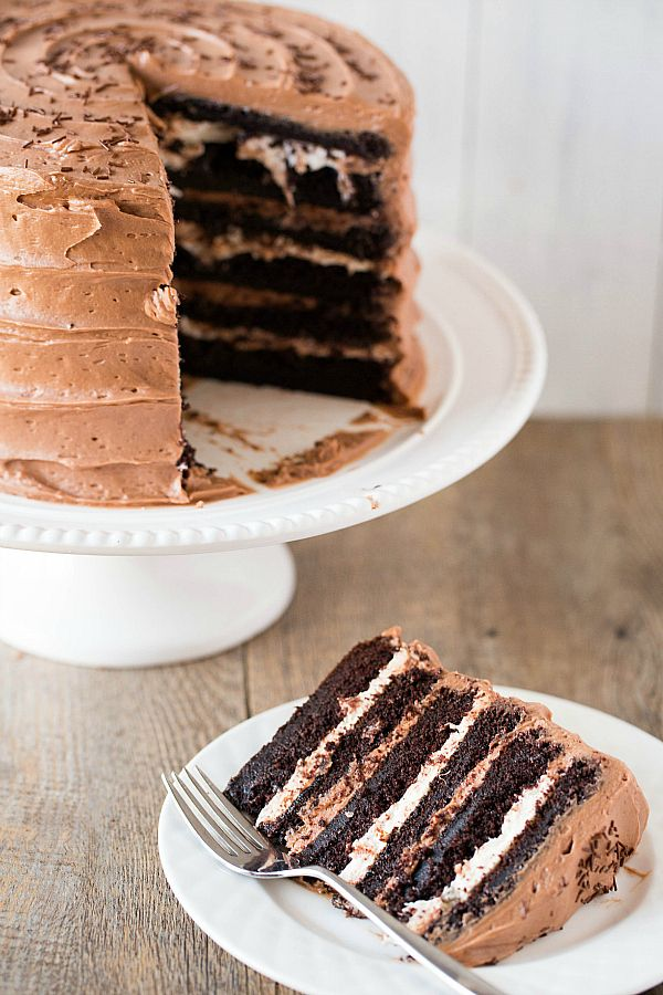 Six-Layer Chocolate Cake with Toasted Marshmallow Filling and Malted Chocolate Frosting by Brown Eyed Baker