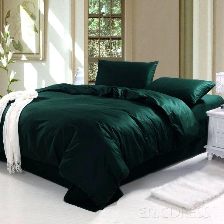 Luxury Duvet Cover Set Quilt Bedding Cotton Blend DARK GREEN Single King Double