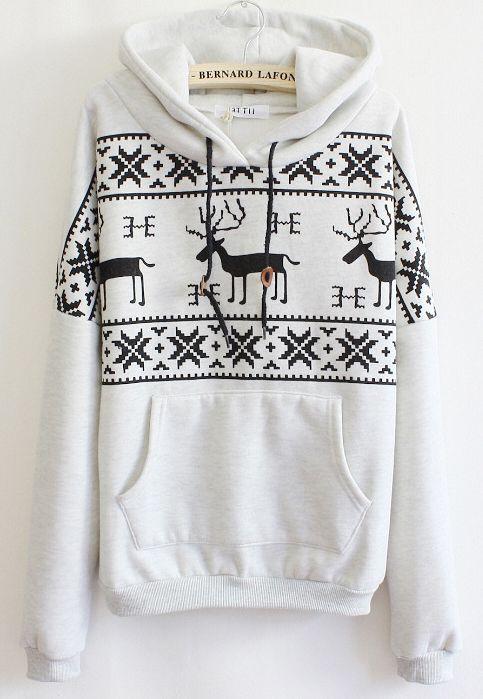 Long Sleeve Deer Print Pocket Front Hoodie