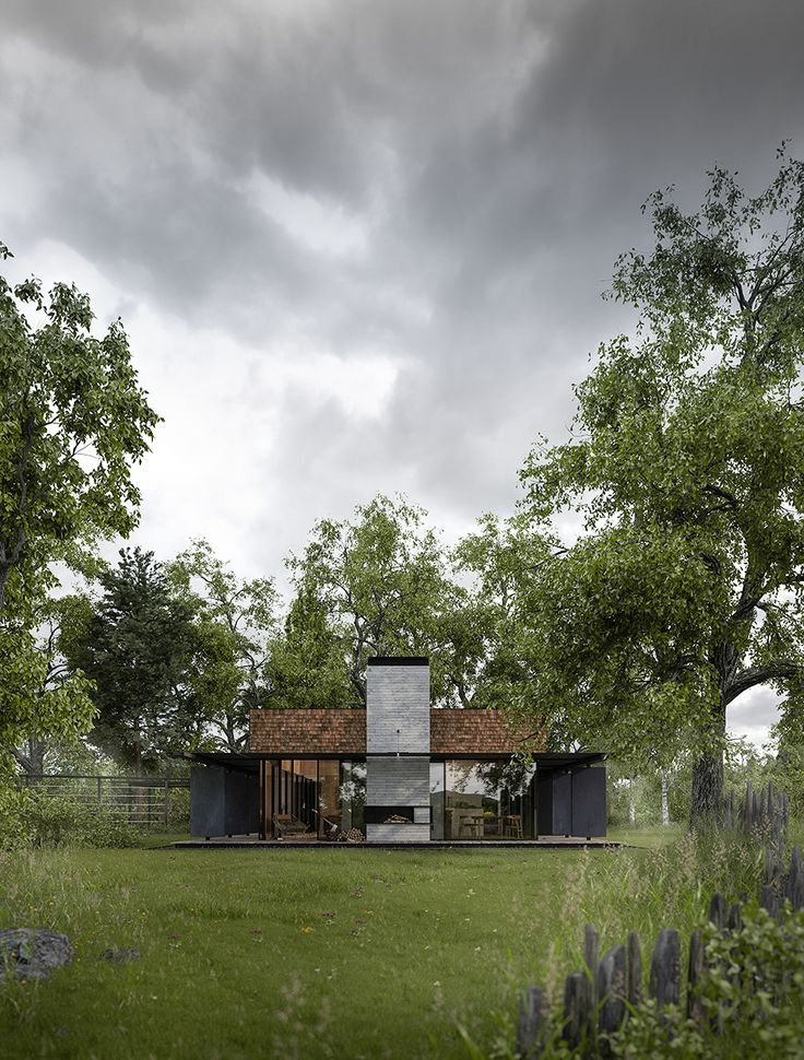 'Petrichor House' garden elevation with overhead storm clouds, Hyde + Hyde Architects
