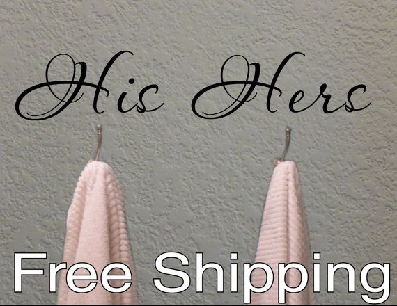 HIS and HERS towel hook wall vinyl sticker home by KleinsKreations, $7.95