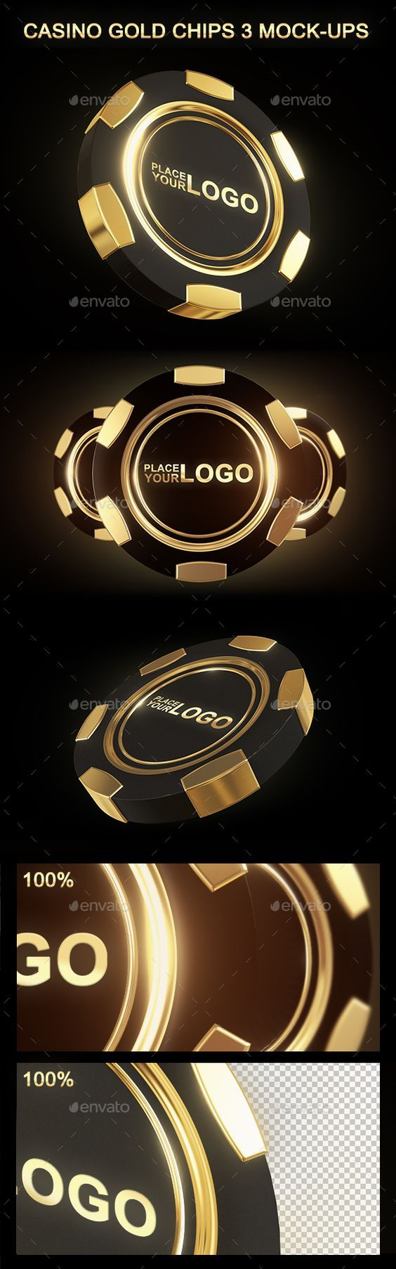 Casino Gold Chip Mockup by gio_keresa Create a realistic Casino Gold Chips display in few seconds. These PSD files uses the Smart-Object feature, so you can replace the