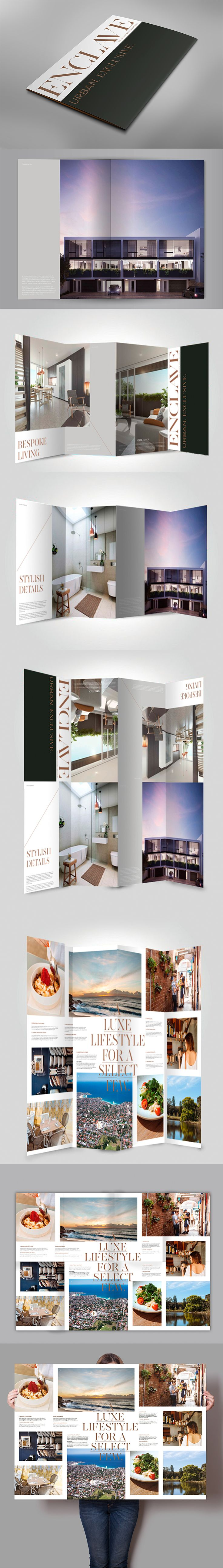 Made created a unique folding brochure for Enclave, a new property development in Sydney's exclusive eastern suburbs. The brochure transforms from an A4 book to an eye-catching A1 poster.  madeagency sydney graphic graphicdesign brochure poster creative inspiration realestate estate