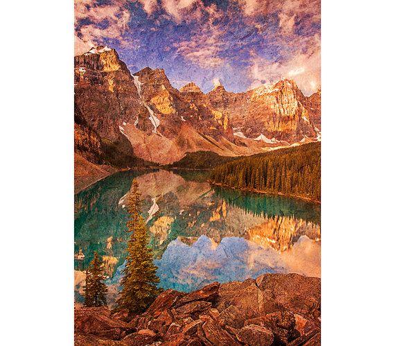 Mountain Photography - Vintage Decor, Banff, Landscape Image, Moraine Lake, Turquoise, Sunrise, Rustic, Dreamy Texture, Warm Colors, Nature
