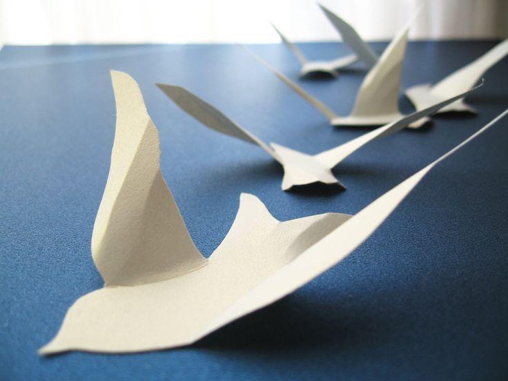 Paper Birds Wall Decor : D white paper birds wall decor art