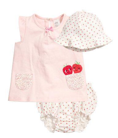 3-delige tricot set | Lichtroze/aardbeien | Kinderen | H&M NL