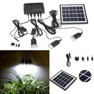 Outdoor Solar Panel LED Light Lamp Charger Home System Kit Garden Path US R4A4