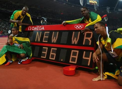 New world record for Jamaica 4x100 mts team.