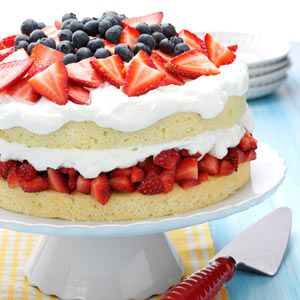 """Layered Strawberry Cream Cake Recipe -I created this dessert one Saturday when my daughter's friends dropped in. It was a hit, and word spread through the high school. It has been renamed """"Amber's Dad's Good Stuff."""" —Frankie Allen Mann, Warrior, Alabama"""