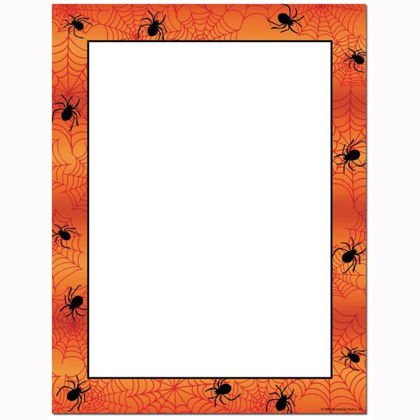 This Halloween printer paper features a bright orange border, emblazoned with creepy black spiders and spider webs, and offers plenty of room in the middle of the sheet for customizing with your own message. The 8 1/2″ x 11″ stationary paper runs smoothly through inkjet printers, laser printers and copiers.