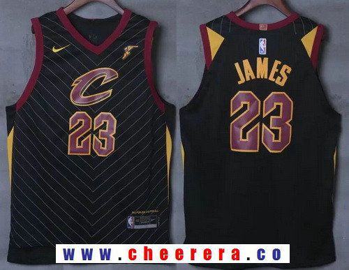 5a827094c45 Men's Cleveland Cavaliers #23 LeBron James Black 2017-2018 Nike Swingman  Goodyear Stitched NBA Jersey