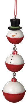 Snowman Fishing Bobber Christmas Tree Ornament eclectic-christmas-ornaments