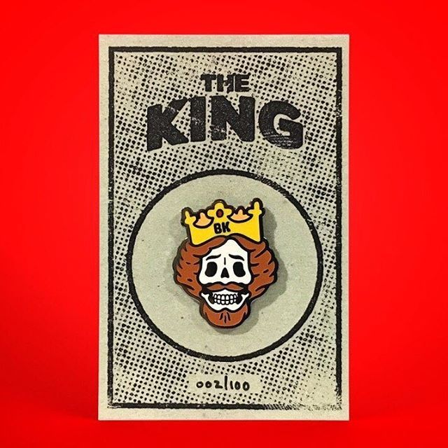 Repost @jimibiscuits Whatever happened to The Burger King? Put to death for crimes against Elvis he now inhabits his own Hell in which he's unceasingly chased by every cow he ever served up between bread. This and more Gods of Junk pins available in my store. Link in my bio #pin #pins #pindesign #pingame #hatpin #friedchicken #thecolonel #junkfood #pinlife #lapelpin #lapelpins #pinstagram #pincommunity #pinsofinsta #design #patchgame #graphicart #shopindie #graphicartist #characterdesign…