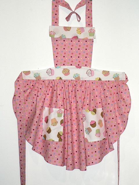 Cupcake Apron- Great round-cut skirt, fabric mix.