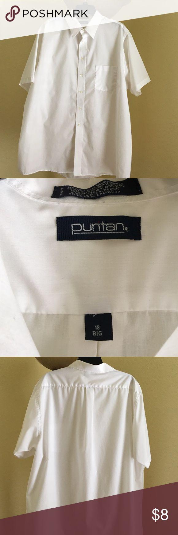 Men's short sleeve dress shirt size 18 big White mens dress shirt sleeve dress shirt size 18 big puritan Shirts Dress Shirts