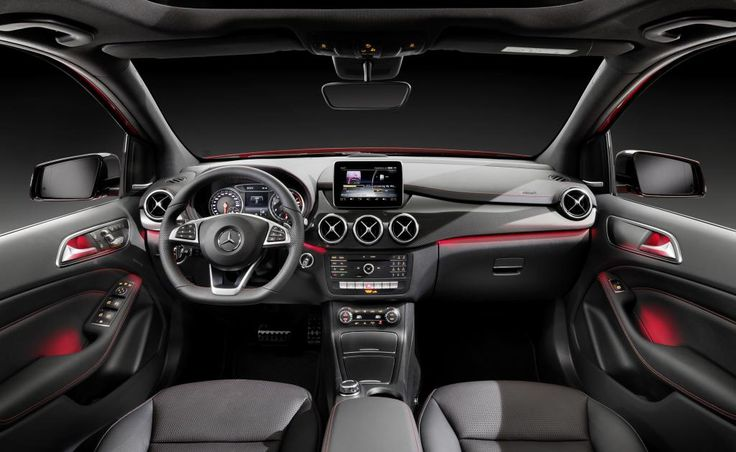 Mercedes-Benz B-Class model year 2014, B 250 4MATIC, jupiter red, AMG Line, interior, RED CUT black leather [Fuel consumption combined: 6,7-3,6 (l/100 km) CO2 emission combined: 156-94 g/km] #mbhess #mbcars #mbbclass