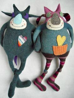 Stuffed Monster Patterns Free | Monster Stuffed Animal Friend from Upcycled Pendleton Wool Sweater.