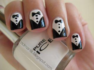 Cute tuxedo nails