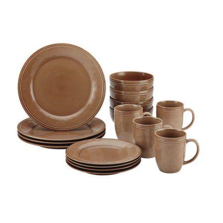 Rachael Ray Cucina Dinnerware 16-Piece Stoneware Dinnerware Set, Brown