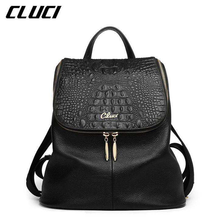 CLUCI Women's Backpacks Real Genuine Leather Fashion Black/Pink/Beige/Grey/Purple Alligator Pattern Casual Women's Daypacks Bags