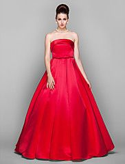 Ball Gown Strapless Floor-length Satin Evening Dress Inspired by Arizona Muse  $85