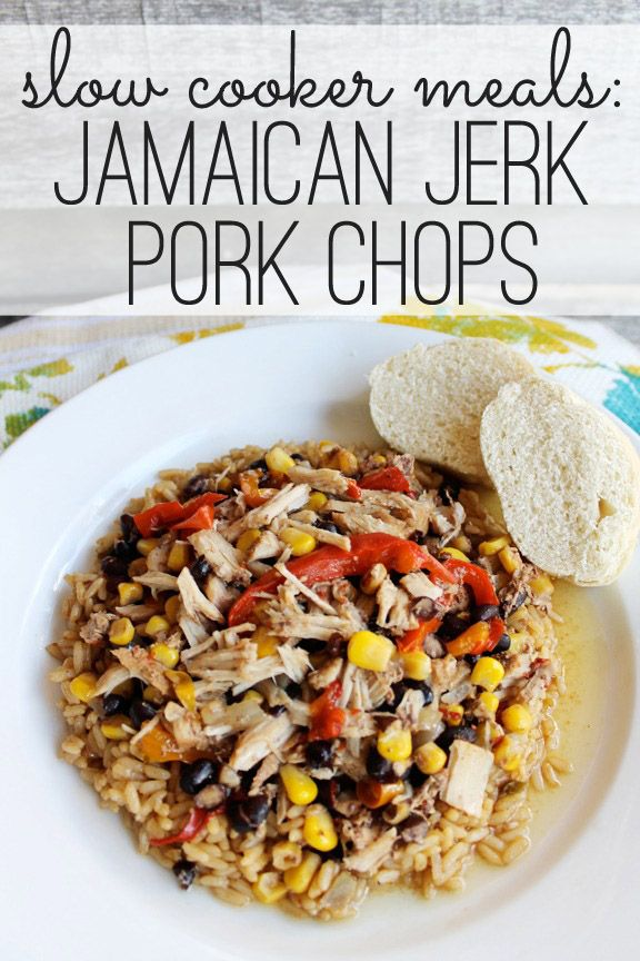 Crockpot Jamaican Jerk Pork Chops at ALittleClaireification.com #recipe #slowcooker #crockpot