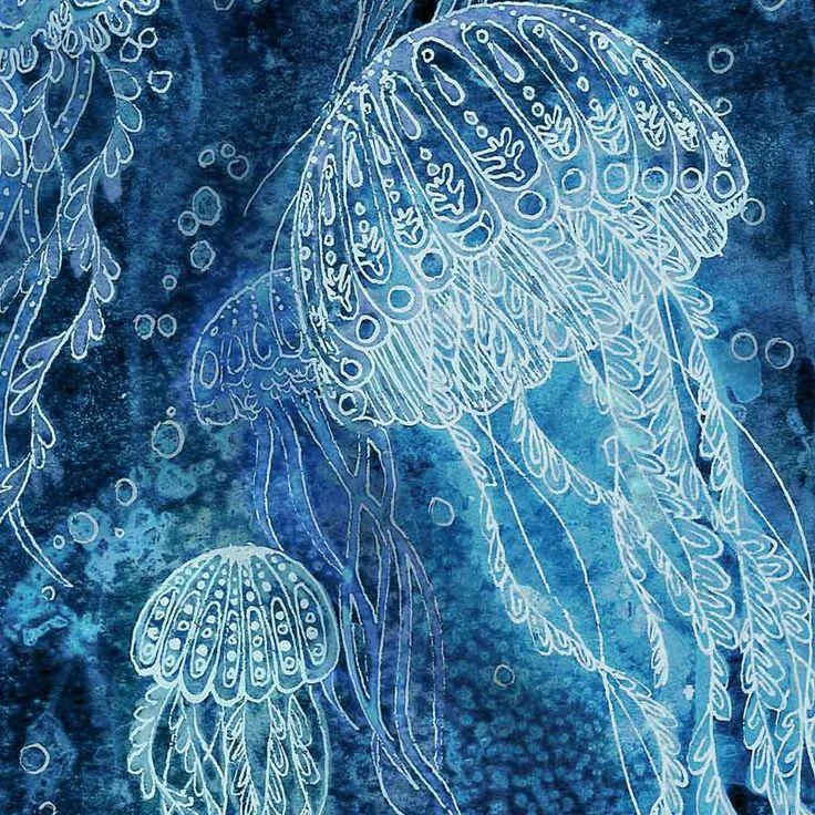 Print from my Illustration 5 x 7 - Deep Sea Jellyfish. $10.00, via Etsy.