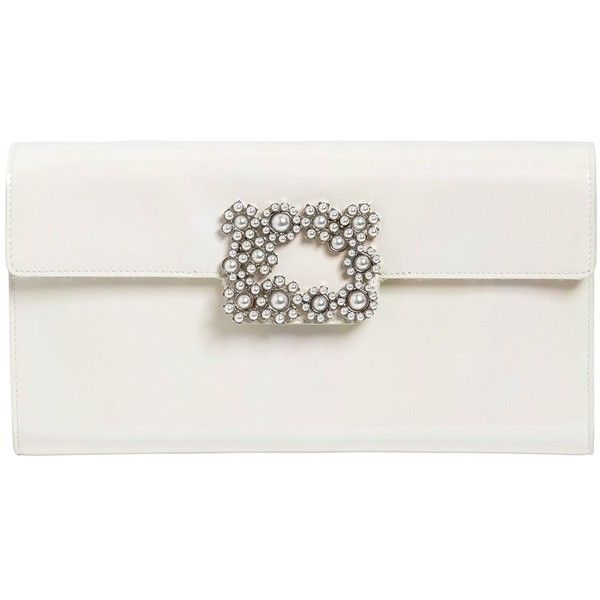 fe1ef0b105 Roger Vivier Women Pearl Buckle Envelope Leather Clutch (€1.505) ❤ liked on  Polyvore
