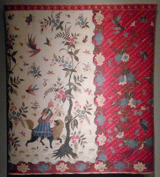 Western fairy tales were a popular design in batik sarongs in the 1920s and 1930s. Little Red Riding Hood was a special favourite. Adapted to the local culture, sprinkles of local life was added to the Little Red Riding Hood. Here, she is drawn holding a Javanese style basket and instead of the Big Bad Wolf, she is running away from a Big Bad Lion. #batik #pattern #design #inspiration #art #culture #fabric #vintage