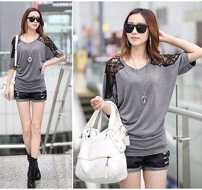 UK Womens Clothes Embroidery Lace Batwing Sleeve Ladies Blouse Top Girls T Shirt €11.99