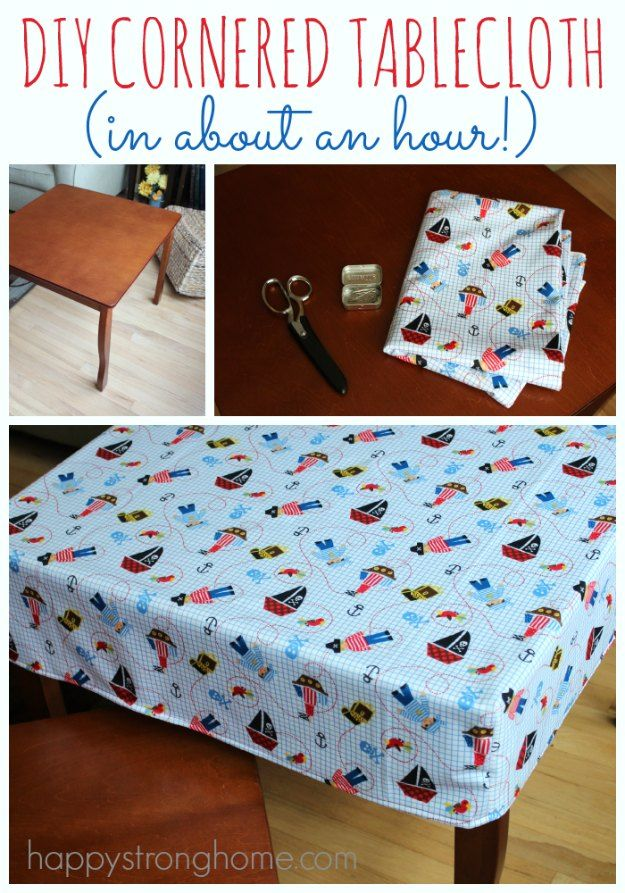Sewing Projects for The Home - DIY Cornered Tablecloth Tutorial  -  Free DIY Sewing Patterns, Easy Ideas and Tutorials for Curtains, Upholstery, Napkins, Pillows and Decor http://diyjoy.com/sewing-projects-for-the-home