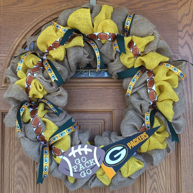 Packers Green and Natural Burlap GB ribbon/Pennant banner