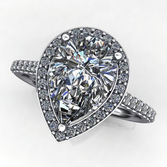 anya ring  2 carat pear cut NEO moissanite by jhollywooddesigns