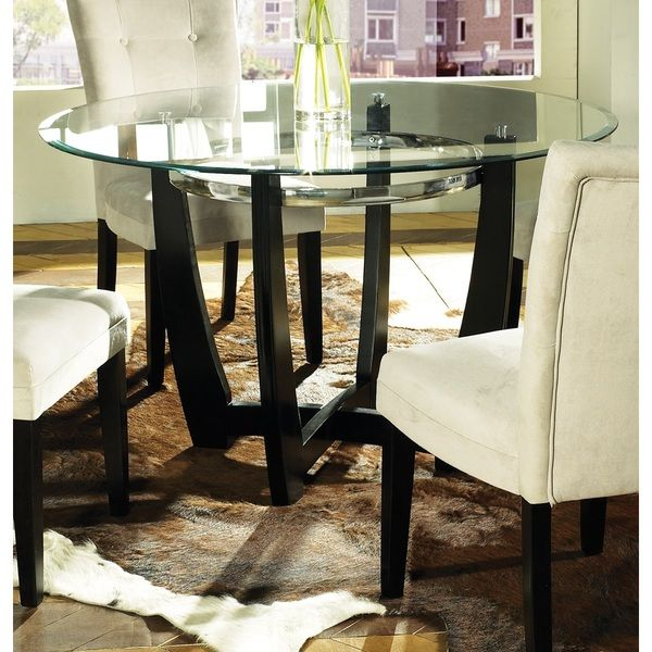 Steve Silver Matinee Round Glass Top Dining Table With Black And Chrome Base