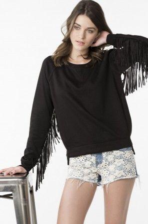 Black fringe sweatshirt