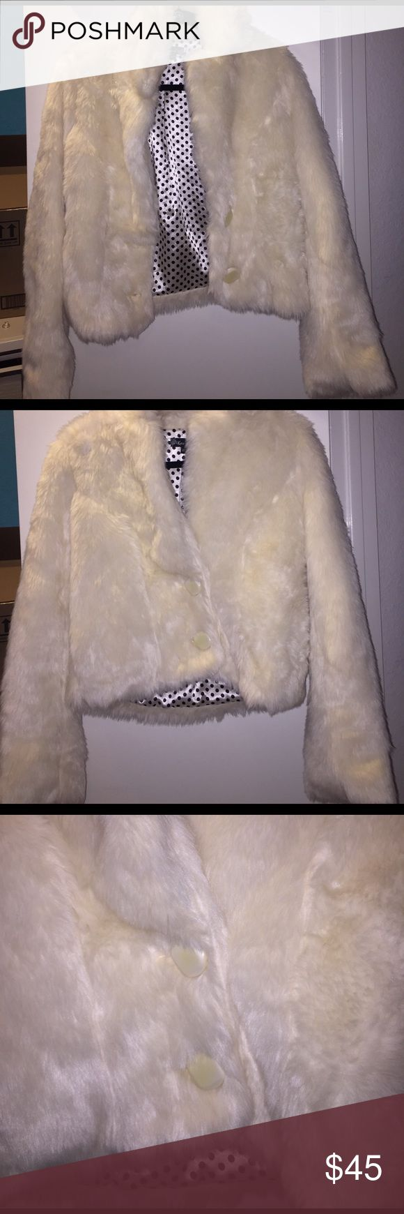 White faux fur jacket White faux fur jacket with black and white polka for silk inside Ketz-ke Jackets & Coats